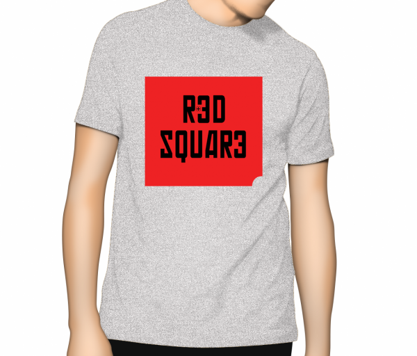 Red Square T Shirt - Ash Grey