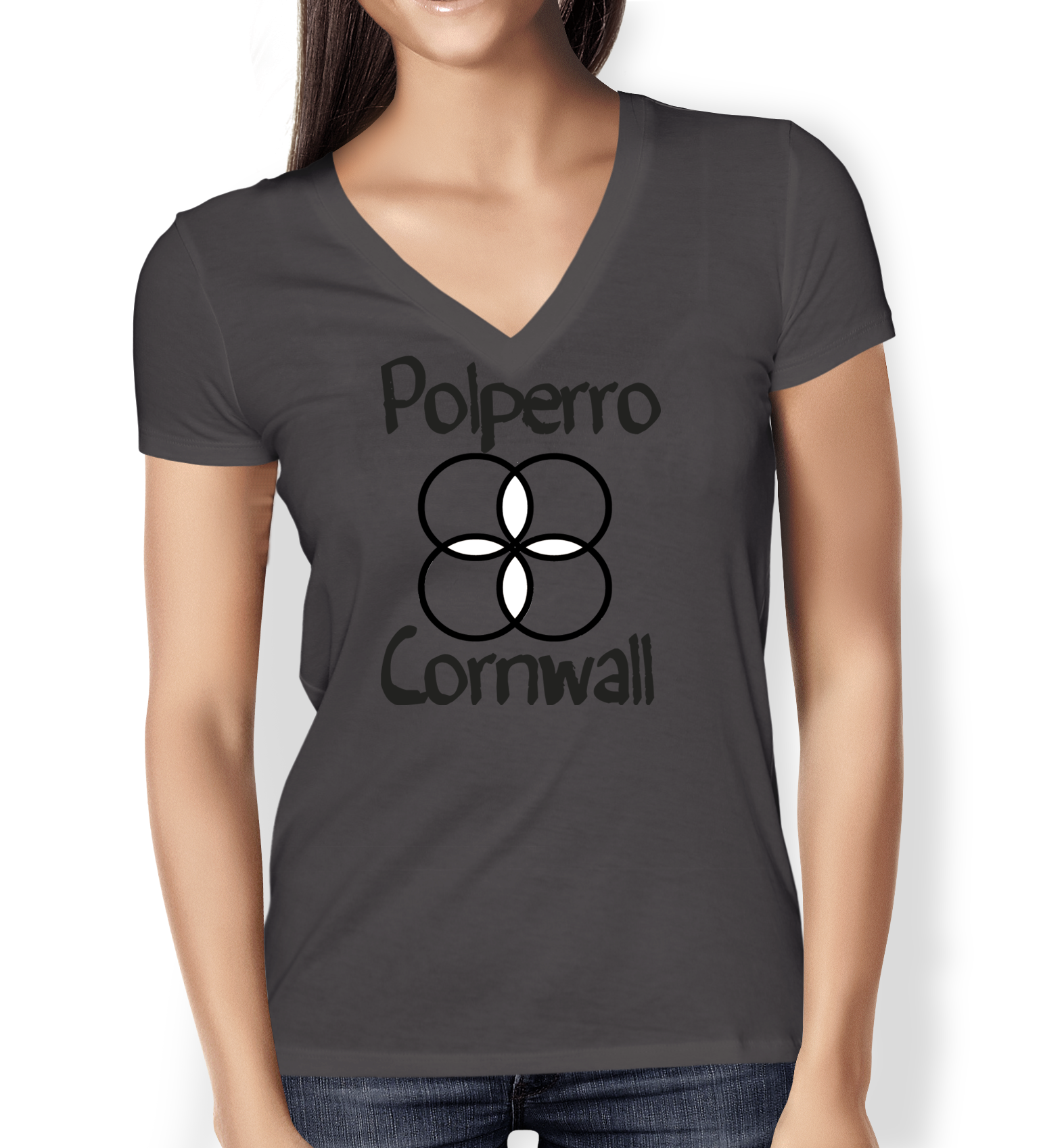 polperro-cornwall-grey-ladies-v-neck