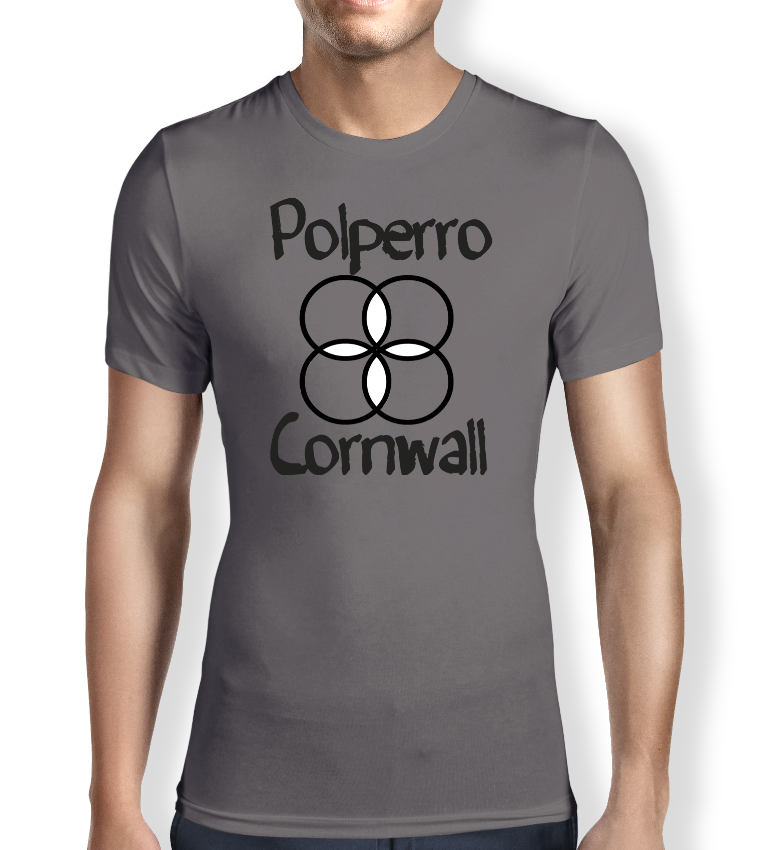 polperro-cornwall-grey-mens t-shirt