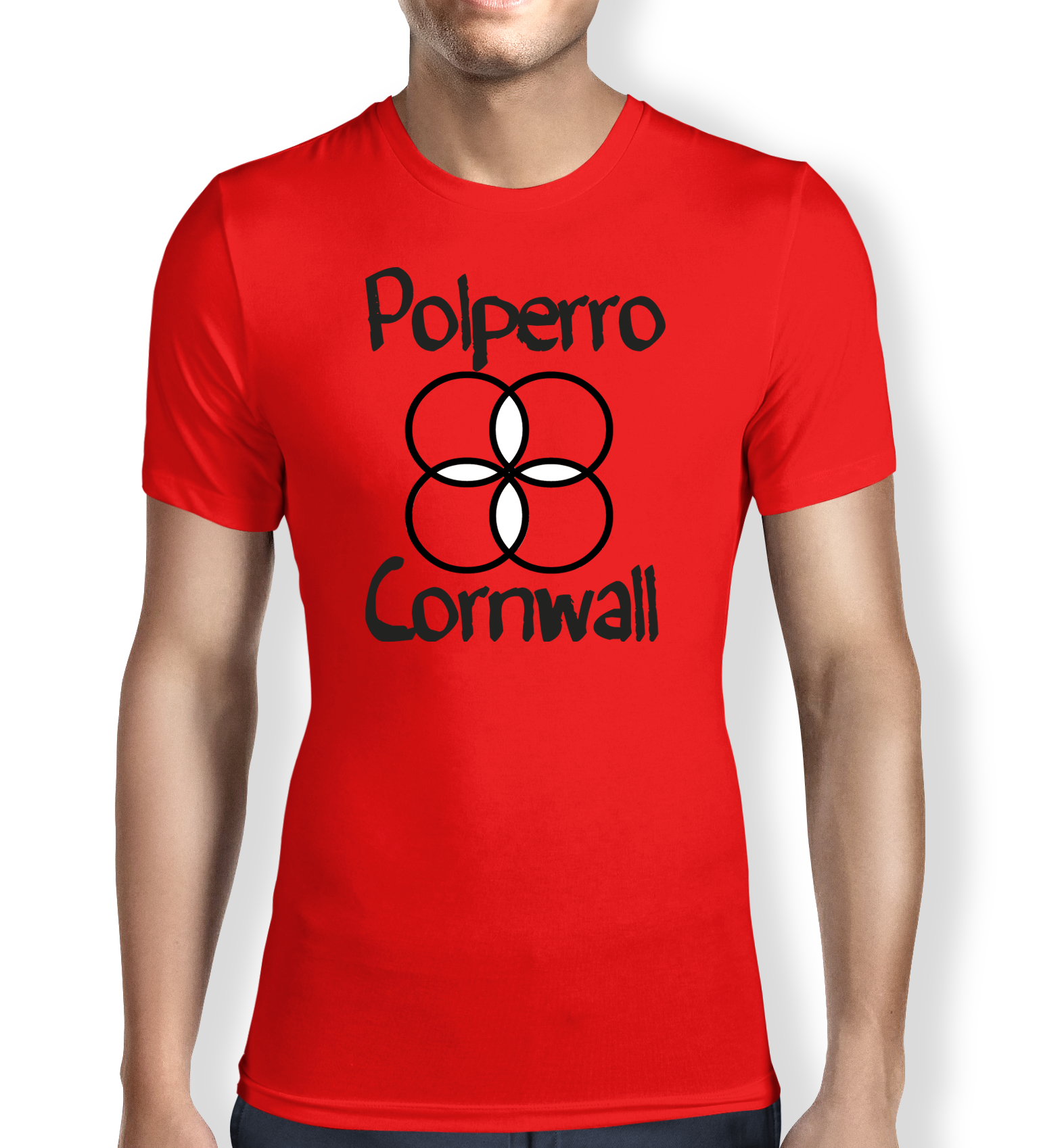 polperro-cornwall-red-mens t-shirt